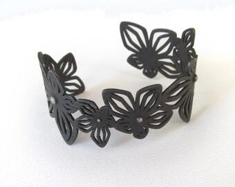 Dark steel cuff bracelet, wide flower cuff, black jewelry, 3D printed jewelry