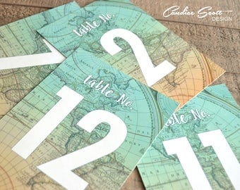 Travel Theme Wedding Table Numbers 1-15, DIY Printable PDFs