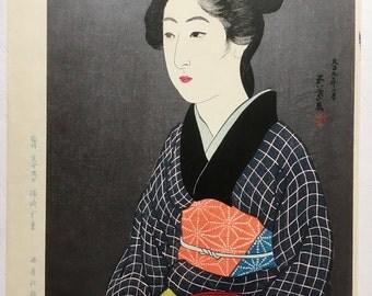 "Japanese Ukiyoe, Shin-hanga, Woodblock print, antique, Hashiguchi Goyo, ""Woman Holding a Tray"""