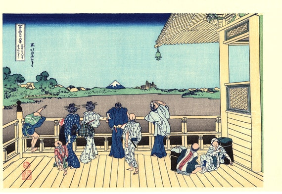 "Japanese Ukiyo-e Woodblock print, Katsushika Hokusai, ""Sazai hall - Temple of Five Hundred Rakan, Thirty-six Views of Mount Fuji"""