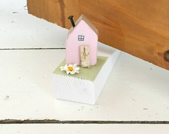 Miniature House Door Stop, Door Stop, Door Stopper, Door Decal, Door Decor, Doorstop, Wood Door Stopper, Door Wedge, Reclaimed Wood Doorstop