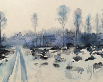 Watercolor trees, birch trees, winter trees, winter landscape, snow painting, monochrome landscape, tree painting, tree landscape, landscape