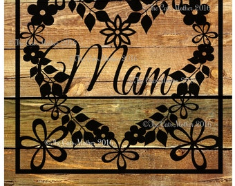 Mam - floral card template for paper cutting - Personal And Commercial Use PDF