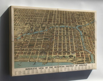 Canvas 24x36; Birdseye Map Of Chicago Business District 1898