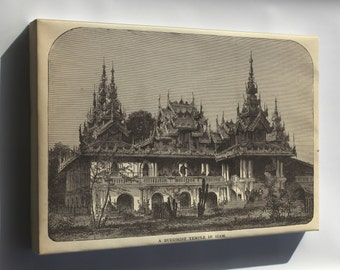 Canvas 24x36; View Of Buddhist Temple Of Siam 1881