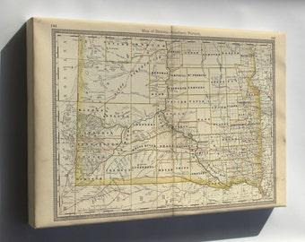 Canvas 24x36; Map Of South Dakota 1881