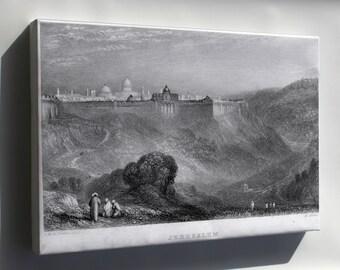 Canvas 16x24; Jerusalem Israel Engraving By William Miller C1836