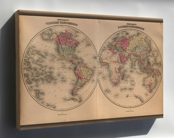 Canvas 16x24; Johnsons World Map 1862