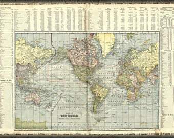 16x24 Poster; Map Of The World 1906