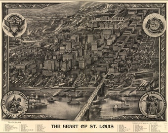 16x24 Poster; Map Of Heart Of St. Louis Missouri 1907