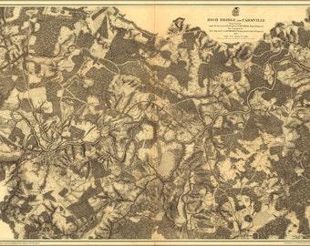 16x24 Poster; Map Of High Bridge And Farmville Virginia 1865