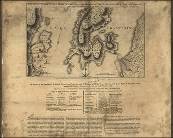 16x24 Poster; Map Of Benedict Arnold On Lake Champlain 1776 P2