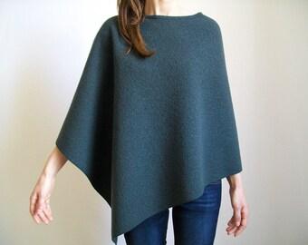 SWEATER/ WOOL PONCHO/ 100% Merino Wool Shrug/ Women Ponchos/ Anthracite Cape/ Spring Clothes/ Wool Shawl/ Boho-Chic Poncho/Italian Wool Cape