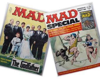 Set of 2 Vintage Mad Magazines | Humorous 1970's Magazines | No. 155 Dec. '72 and Number Twenty-One 1976