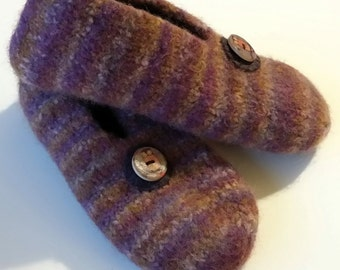 Handknitted Felted Wool Slippers, multi coloured purple brown owl buttons