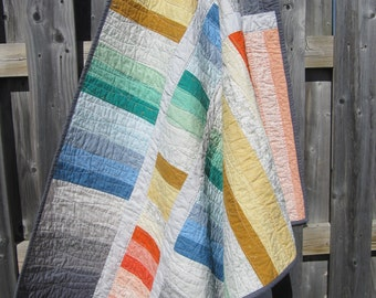Modern quilt - custom quilt - patchwork quilt - homemade quilt - twin quilt - lap quilt - gender neutral quilt - rainbow quilt