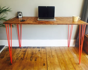 OSB desk with red steel hairpin legs