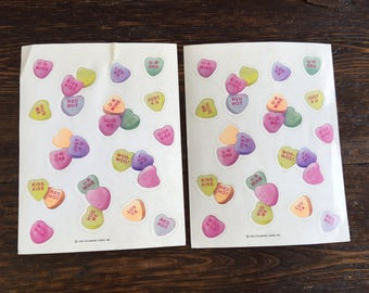 Hallmark candy hearts Valentine's Stickers 2 sheets / Vintage loose 1995