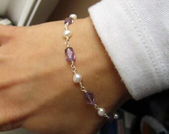 Amethyst and Pearl Bracelet, June Birthstone Bracelet, February Birthstone Bracelet, February Birthday