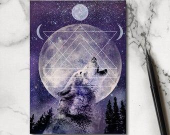 Howling Wolf Notebook - Wolf Notebook - Husky Notebook - Wolf Stationery - Jotter - Notepad