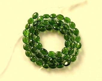 "Green tourmaline smooth oval bead AA 6-6.5mm 15"" strand"