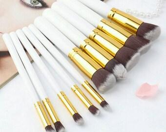 10 Pcs Superior Professional Soft Cosmetics Make Up Brush Set