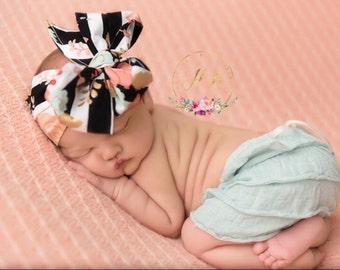 FANCY FLORAL Gorgeous Wrap- headwrap; fabric head wrap; floral head wrap; newborn headband; baby headband; toddler headband; baby headwrap