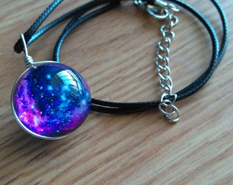 Pink and Blue Galaxy Glass Ball Orb Pendant Necklace