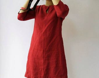 Red Linen dress, Linen tunic, Dress, Natural dress, Eco-friendly dress-Heavyweight 100% Flax Linen