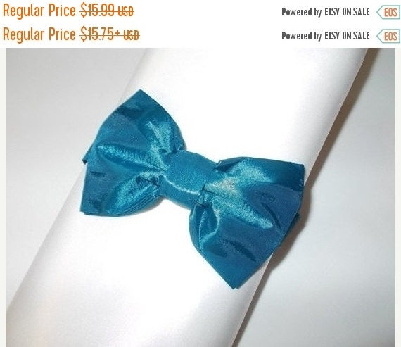 "Winter Sale Sale CLEARANCE ""Teal Blue"" Taffeta Pre-tied Bow Tie  Adult Size"
