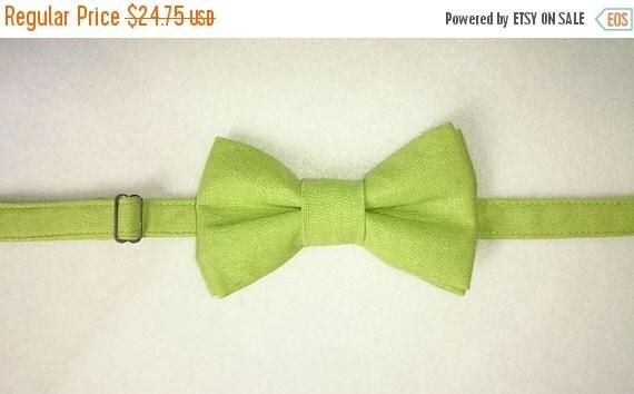 Winter Sale Lime Green Linen Pretied Bow Tie Adult size Men's & Ladies