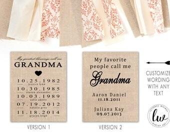 My Greatest Blessing Call Me Grandma, Burlap Print, Burlap Wall Art, Gift For Grandma, Mother's Day, Birthday Gift, Gift for Her, Birthday