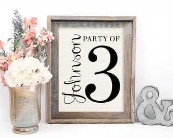 Party of 4 Sign, Gallery Wall Decor, Pregnancy Reveal, Housewarming Gift, Baby Announcement, Family Number Farmhouse Style Burlap Print
