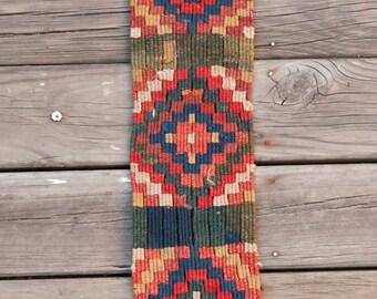 "Antique UZBEK HAIR COVER Exquisite Colors Ethnographic Collectible 5.0""x1'1""/12x58 cm Free Shipping Item No. E-305"