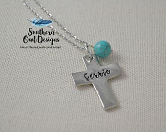 hand stamped cross necklace - custom cross necklace - personalized cross necklace - religious gift - inspirational necklace