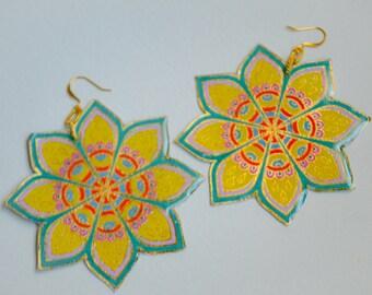 Yellow Handpainted Flower earrings