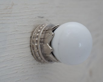 White and Silver Drawer Knobs, Drawer Pull, Cabinet Pull, Cabinet Knobs