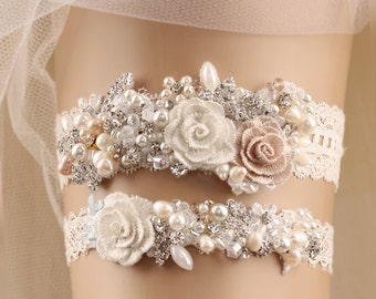 wedding garter set, bridal garter set, lace garter set, white garter set, rhinestone garter, toss garter, pearl garter, beads garter