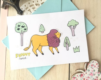 Funny Forest POP-UP Forest Animal Blank Greeting Card With Envelope/1PC/Lion