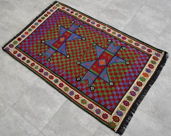"2'6'' x 3'9'' Turkish Mini Kilim Rug Hand Woven Wool Starry Area Rug 29"" x 45"" Free Shipping to USA from Turkey"