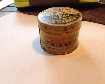 Vintage Burnley Soldering Paste Tin