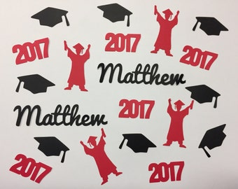 Personalized Graduation Confetti - Graduate, Year, Caps, and Name
