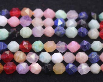Faceted Mixed Stone Nugget Beads, Mixed Stone Faceted Nugget Beads,6mm 8 mm 10mm 12mm Mixed Stone beads, 15 inch strands
