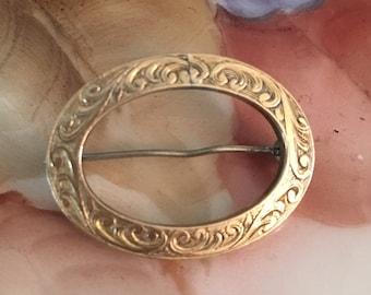 Antique Edwardian Gold Floral Scrolls Circle Pin