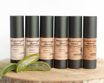 SAMPLE of 2 Shades, Organic Liquid Foudation, Botanical, Aloe Based, Nourishing, Vegan, Non GM0, Gluten Free, Cruelty Free