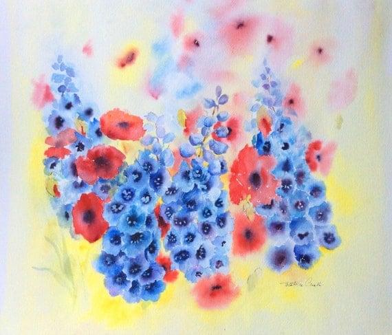watercolour delphiniums poppies