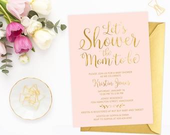 Pink Gold Baby Shower Invitation, Gold Foil Baby Shower Invitation, Pink Gold Baby Shower, Faux Gold Foil Shower Invite