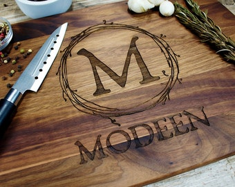 Monogrammed Cutting Board-17.5, Personalized wedding gift, Engraved cutting board, wedding gift for couples, couples gift, engagement gift