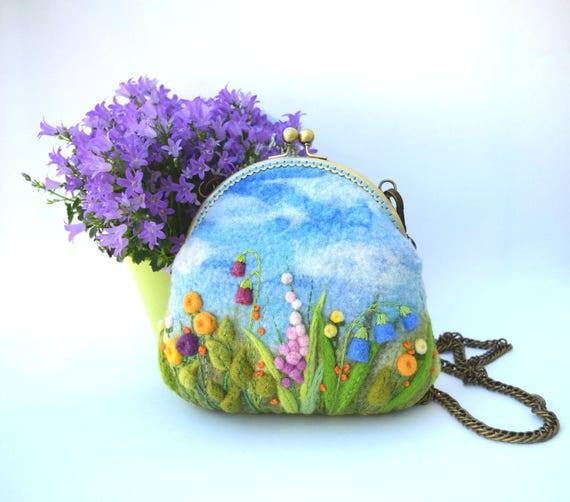Crossbody Handbag Small Felted Bags and Purse Needle Felted Make Up Purse Gift for Her
