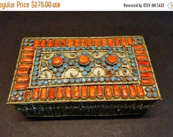 141--1900s Tibetan antique jewelry silver-ton trinket fine inlaid natural red coral & turquoise